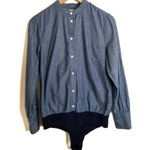 J Crew H8312 Chambray Slim Perfect Bodysuit